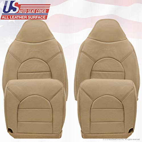 1999 Fits Ford F250 F350 F450 Lariat Front 2X Tops 2X Bottoms Leather Seat Covers tan