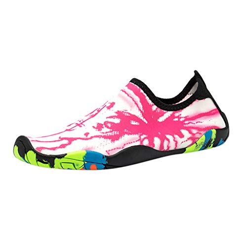 Toimothcn Mens Womens Water Shoes Quick Dry Barefoot Diving Sport Surf Swim Beach Yoga Shoes(Pink,US:9.5)