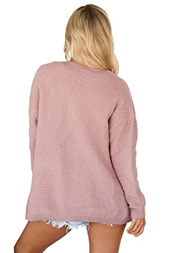 Pocket LADY Front Open ART Women's Pink and Sweater Stylish Cardigan Elegant Long zRR4qFUpw