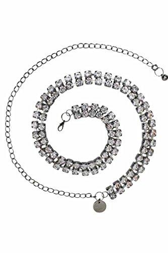 Silver Tone Chain Link Belt (Silver Double Row Crystal Rhinestone Chain Link Belt)