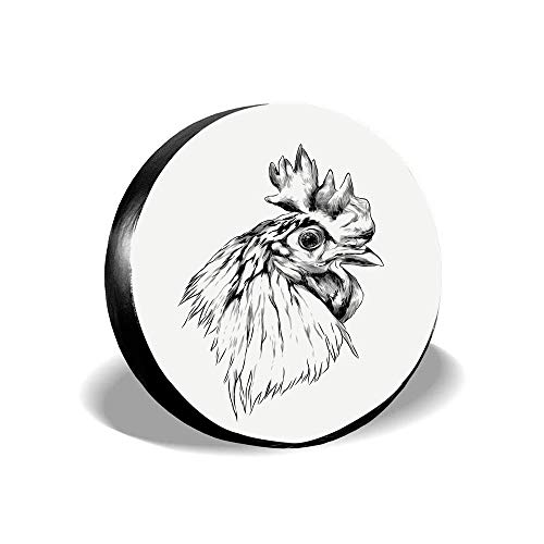 Dinzisalugg Artistic Sketch of Simplistic Drawn Rooster Head Portrait Print Universal Spare Tire Cover Fit for RV,SUV,Trailer and Many Vehicle 14 15 16 17 Inch
