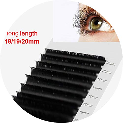 16rows/case 18,19,20mm long style length in one tray maquiagem cilios silk natural individual eyelash extension,D,0.15mm,16mm