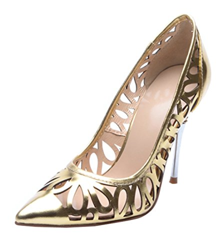 Leather Evening Women's Gold Laser Cut Party Stiletto out TDA Modern Pumps Patent Dress 4YqwaqR