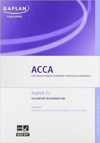 F1 Accountant in Business AB - Exam Kit (Acca Exam Kits): Amazon co