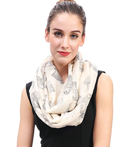 Lina & Lily Vintage Camera Print Loop Infinity Scarf for Women Lightweight (Beige) ()