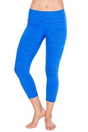 90 Degree By Reflex – Power Flex Yoga Capri – Cationic Heather Activewear Pants - Heather Blue XL
