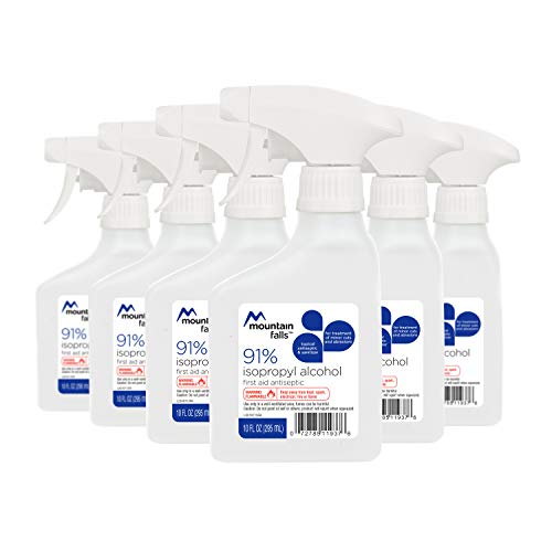Mountain Falls 91% Isopropyl Alcohol First Aid Antiseptic for Treatment of Minor Cuts and Scrapes, Spray Bottle, 10 Fluid Ounce (Pack of 6) ()