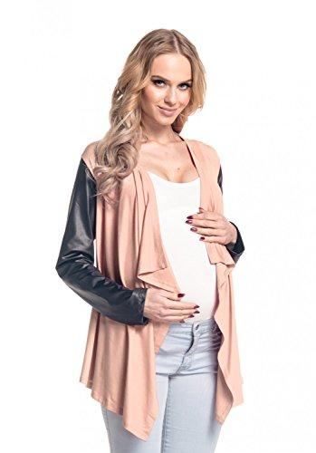 Happy Mama De Las Mujeres Maternidad Cascada Cardigan Bolero chaqueta Blazer Wetlook 098p albaricoque