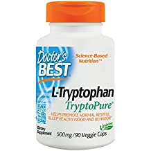 Doctor's Best L-Tryptophan from Tryptopure, Non-GMO, Vegan, Gluten Free, Soy Free, Helps Sleep, 90 Veggie Caps