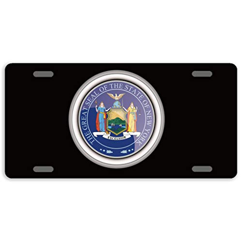 Eprocase License Plate Cover Automotive License Plate Novelty Car Tag Metal Decorative Tags Auto Sign Front License Plates 4 Holes 12 x 6 Inches, The Great Seal of The State of New York