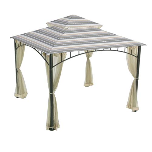 Garden Winds Replacement Canopy Top Cover for The Madaga Gazebo - Stripe Stone ()