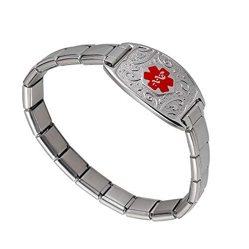 Divoti Deep Custom Laser Engraved Lovely Filigree Stretchable Italian Modular Charm Link Medical Alert Bracelet -Italian Charm Style -Red