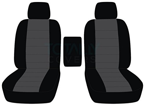 Totally Covers Fits 2009-2014 Ford F-150 Two-Tone Truck Bucket Seat Covers with Center Armrest: Black & Charcoal (21 Colors) 2010 2011 2012 2013 F-Series F150 Front