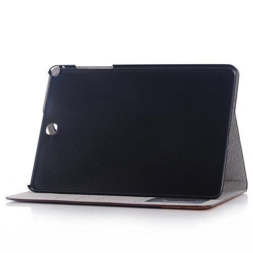 SRY-Funda móvil Samsung Cubierta interna rígida plástica del tirón del soporte de la cubierta con la ranura para tarjeta, líneas cruzadas Diseño de remiendo Caja de cuero de la PU para Samsung Galaxy  Brown