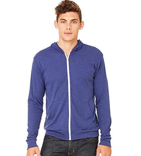 Bella Hooded Sweatshirt - Canvas C3939 Unisex Triblend Full-Zip Lightweight Hoodie - Navy TriBlend, Medium