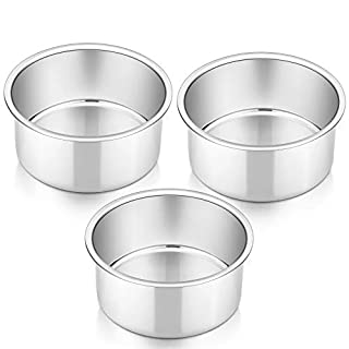 4 Inch Cake Pan Set of 3, P&P CHEF Small Stainless Steel Round Baking Layer Pans Bakeware for Mini Cake Pizza Bread, Non Toxic & Healthy, Leakproof & Easy Clean, Mirror Finish & Easy Releasing