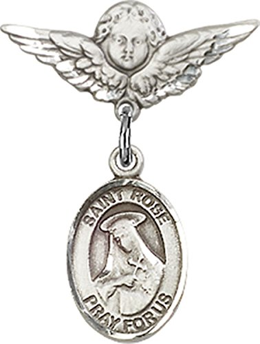 Sterling Silver Baby Badge Cherub Angel Pin with Saint Rose of Lima Charm, 3/4 Inch