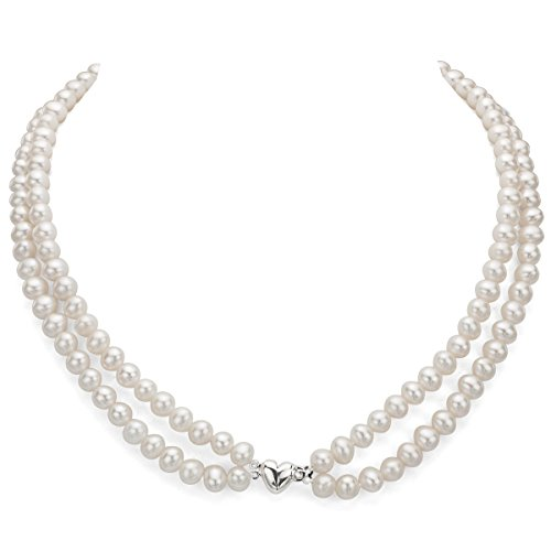 Heart Shape Sterling Silver 2-rows 6-6.5mm White Freshwater Cultured High Luster Pearl Necklace, 17'' by La Regis Jewelry (Image #2)