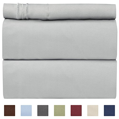 CGK Unlimited Twin XL Sheet Set - 3 Piece - Fits College Dorm Rooms - Hotel Luxury Bed Sheets - Extra Soft - Deep Pockets - Easy Fit - Breathable & Cooling - Light Grey Bed Sheets - Twins ()