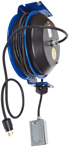 Coxreels EZ-PC13-5012-F Safety Series Spring Rewind SJO Power Cord Reel, 115 Volts, 20 Amp, 50' Length by Coxreels (Image #1)