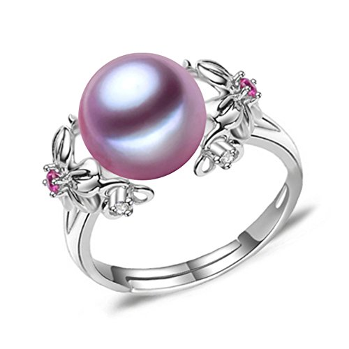 (LSOOYH 18K Gold Plated Fashion Purple Popular Flower Simulation Ruby Shell Pearl Ring for Women (Purple))