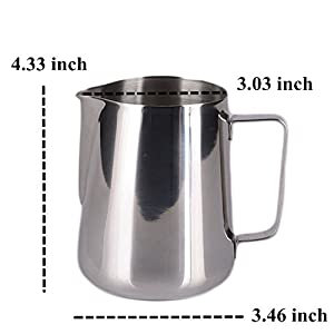Milk Pitcher, HULISEN Stainless Steel Espresso Pitcher Latte Frothing Pitcher