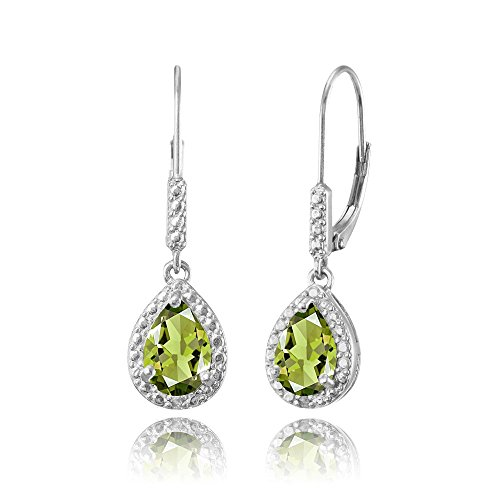 Pear Peridot Bracelet - Sterling Silver Peridot Teardrop Dangle Leverback Earrings