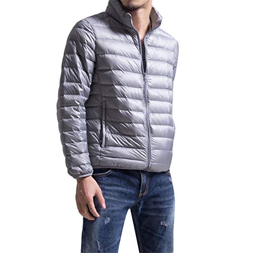 Packable Ultra Outerwear Men Coat Weight Short Silvergrayli Winter Casual Bubble Down Padded Puffer Warm Light Jacket 8Xr68w7q
