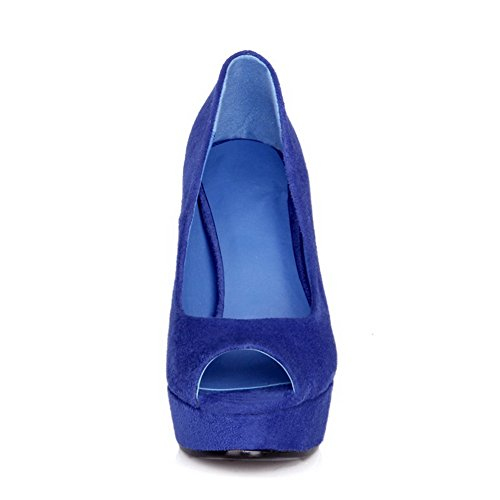 Sandals Blue Peep WeenFashion Imitated Pull on Heels Women's Suede Solid Toe High vqfPAwv