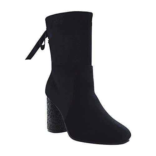 Angelina Women's Velvet Glitter Heel Dress Bootie With Ribbon Lace Up Back Black 10 (Velvet Shoe Black Up Lace)