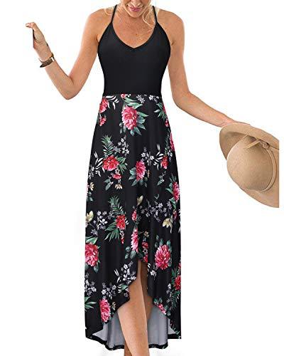 (KILIG Women's V Neck Sleeveless Asymmetrical Patchwork Floral Maxi Dresses (Floral-2,M))