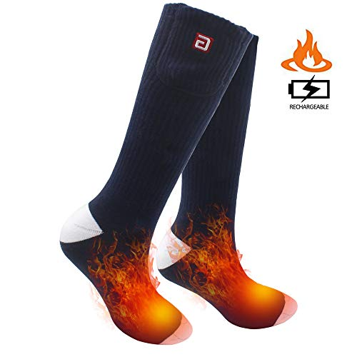 SVPRO Rechargeable Electric Heated Socks Battery Powered Comfortable Thermo-Socks,Cold Weather Thermal Socks Sport Outdoor Camping Hiking Warm Winter Socks for Men Women (Navy Blue, L-T)