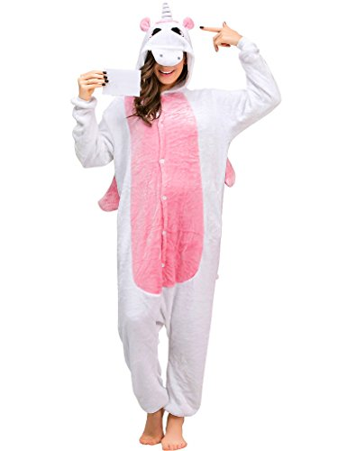 Adult Onesie Unicorn Pajamas for Women Men Teens Girls Animal Halloween Costumes,Pink Unicorn With Wing,M Fit Height 63