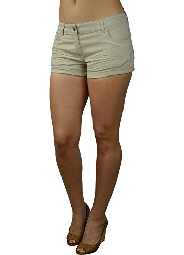 Alfa Global Junior's Ultra Soft Low Rise Wrinkled Woven Twill Short Khaki M