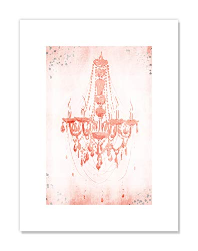 - Casa Fine Arts Blush Pastel Pink Shabby Chic Chandelier Wall Art Archival Print, 12