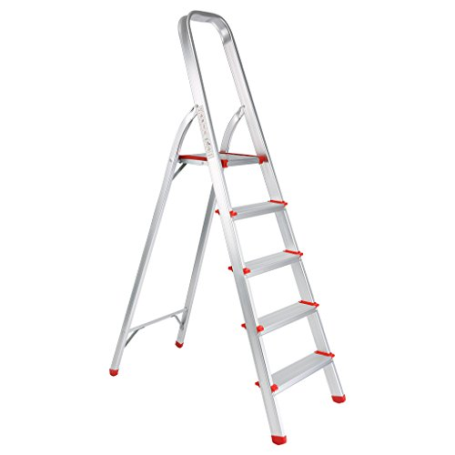 Finether Portable Folding Aluminum 5 Step Ladder with Sta...