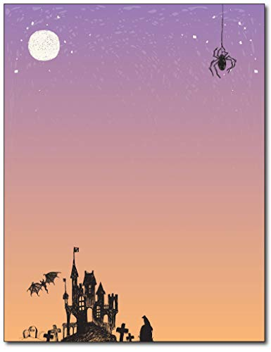 Haunted House Halloween Stationery Paper - 80 Sheets -