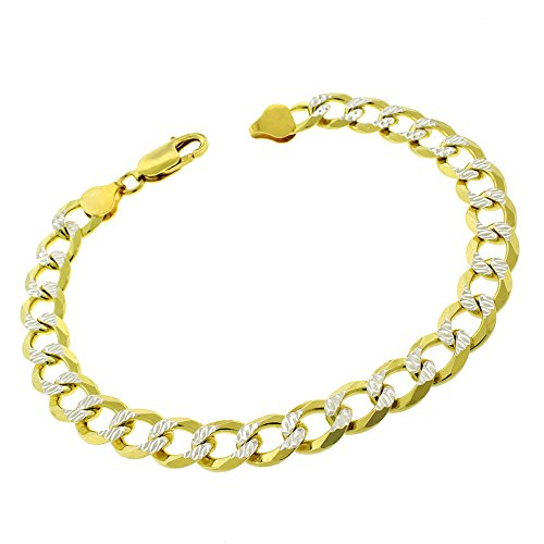 (Sterling Silver Italian 8.5mm Cuban Curb Link Diamond Cut Two-Tone Yellow ITProLux Solid 925 Bracelet Chain 9