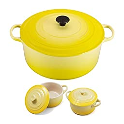 Le Creuset Signature Soleil Yellow Enameled Cast Iron 13.25 Quart Round French Oven with 2 Free Stoneware Cocottes