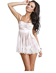 TX-Originality Sexy Lingerie Nightclothes Underwear Pajamas with Lace - White