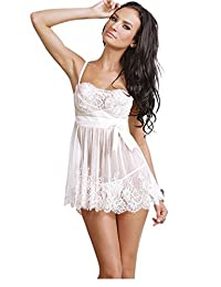 TX-Originality Women's Lingerie with Bowknot Perspective Pajamas with Lace
