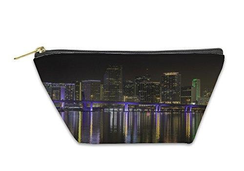 Gear New Accessory Zipper Pouch, Miami Skyline By Night, Small, - Miami Bayside