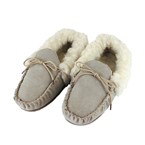 Slippers Upper Ladies Moccasin World Deluxe Beige Hard Lambswool Sheepskin With Sole Suede AxvXqw