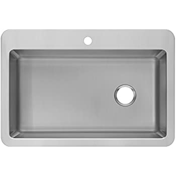 Zuhne 33 X 22 Inch Drop In Overmount Single Bowl 16 Gauge Stainless Steel Kitchen  Sink