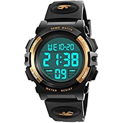 My-My Best 6-12 Years Old Boys Gifts, Electronic Sports Watch for Boy Girls Kids Watches Boys Waterproof Cool Toys for 6-12 Year Old Boys Great Birthday Present Yellow MMXBS03