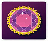 Ambesonne Amethyst Mouse Pad, Abstract Round Gemstone Ornamented with Circular Frame and Pearls