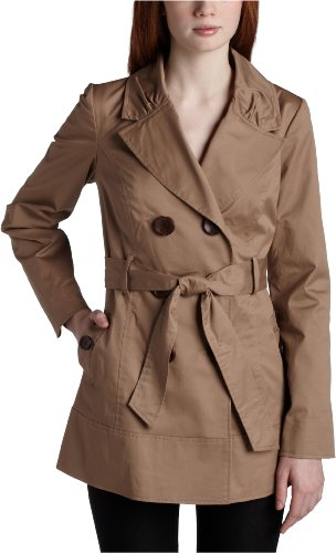 Jolt Juniors Solid Swing Trench Coat,Khaki,Large