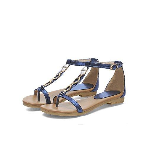 Amoonyfashion Kvinnor Låga Klackar Lackläder Fast Spänne Delad Tå Vippan-sandaler Blå