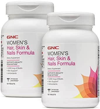 GNC Women's Hair, Skin & Nails Formula, 120 Caplets, Supports Beauty from Within