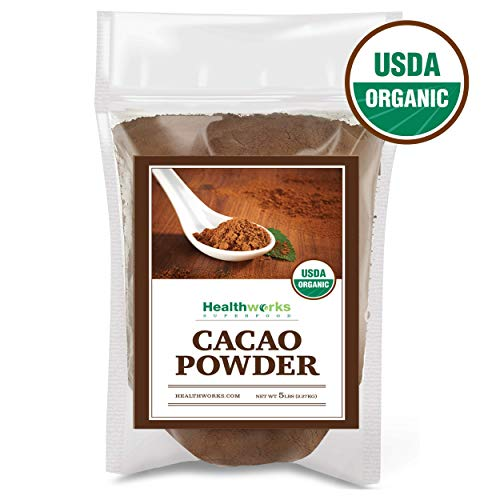 (Healthworks Cacao Powder (80 Ounces / 5 Pounds) | Cocoa Chocolate Substitute | Certified Organic | Sugar-Free, Keto, Vegan & Non-GMO | Peruvian Bean/Nut Origin | Antioxidant Superfood)